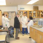 Dr. Hallenbeck meeting with research lab members