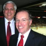 Dr. Ondra and Dr. Dempsey at UW Hockey game