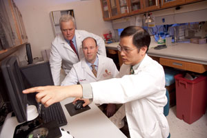 Jamey Weichert, PhD (from left), Lance Hall, MD and John Kuo, MD, PhD collaborated on the study.
