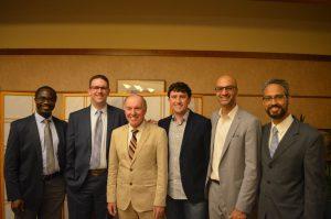 L2R: Solomon Ondomo '18, Casey Madura '15, Robert Dempsey, Chair, Chris Nickele '14, Sharad Rajpal '09, Azam Ahmed '09.